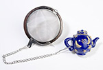 Tea Strainer with decorative tea pot fob