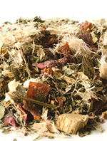 Closeup of Calm your cough herbal tea